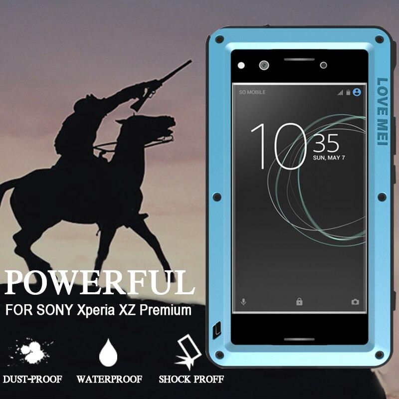 bilder für Wasserdicht Fall für Sony Xperia XZ Premium Stoßfest Metall Aluminium Abdeckung Mit Gehärtetem Glas für Sony Xperia XZ Premium-Fall