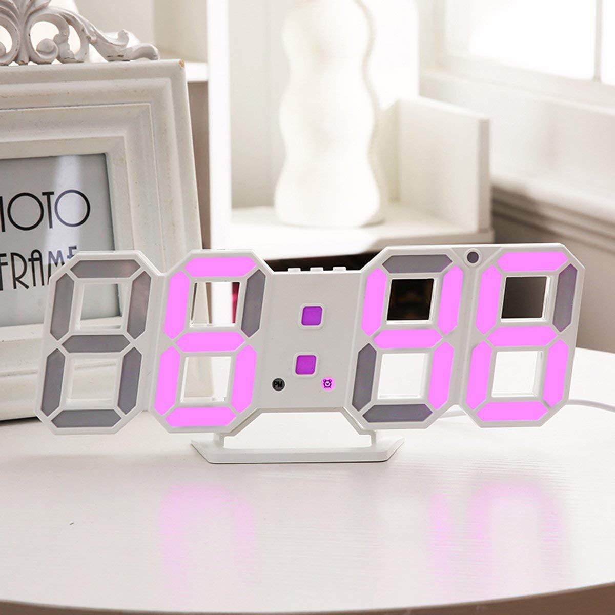 Loyal 3d Led Wall Clock Modern Digital Table Desktop Alarm Clock Nightlight Saat Wall Clock For Home Living Room Office 24 Or 12 Hour Home & Garden
