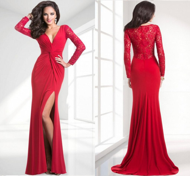 ae5edc8174 Red Long sleeve Prom dresses Beautiful Sexy Side-slit V-neck Floor-length  Cheap Simple Evening party gowns2015 Celebrity dress