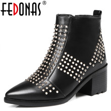 FEDONAS New Women Genuine Leather Ankle Snow Boots Women Motorcycle High Heel Gothic Punk Rivets Brand Shoes Woman Winter Boots