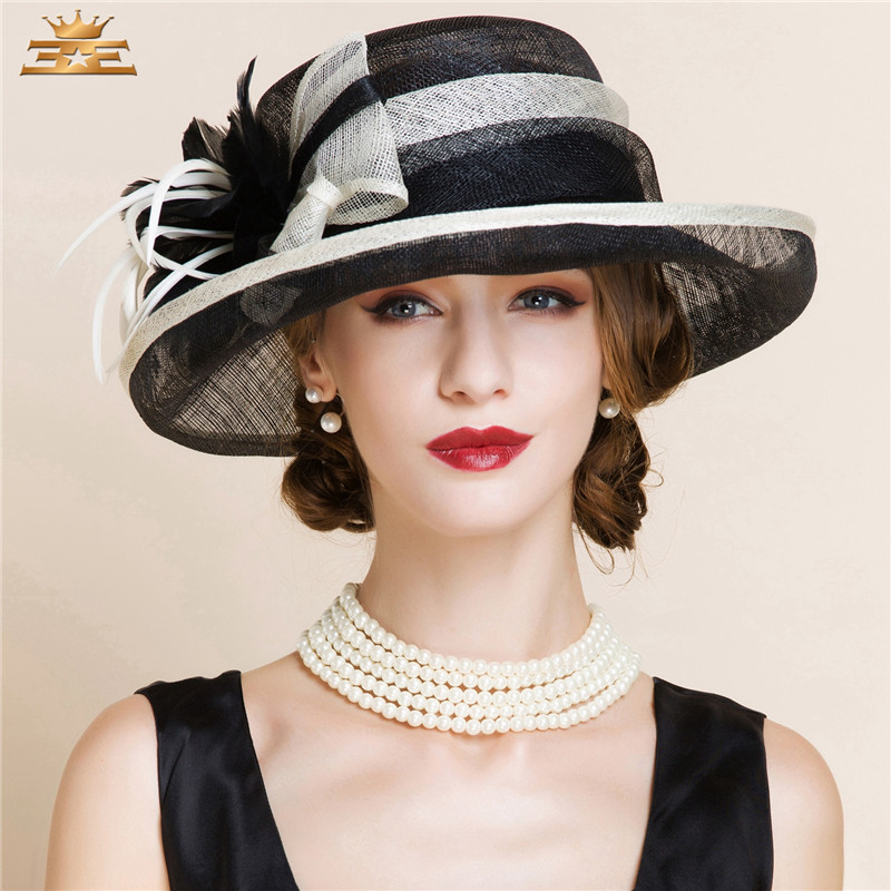 Summer Black and White Elegant Linen Fedora Hats Lady Fashion Fedoras Hat Women Floppy Wide Brim Cloche Hat Flax Linen B-8150