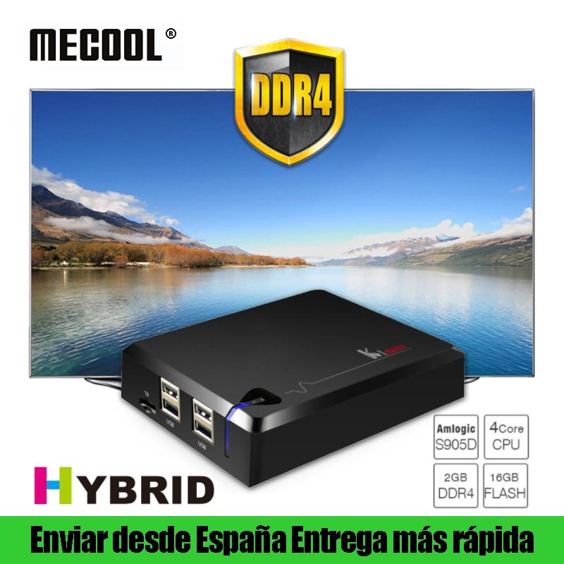 MECOOL KI Pro DVB T T2 S S2 C Combo híbrido Smart TV caja DDR4 2G 16G Android 7,1 Dual Wifi Set Top Boxes 4 K Ultra HD Media Player