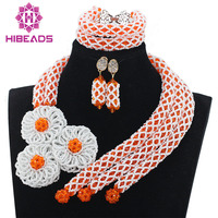 Orange Mix White African Women Crystal Beads Jewellery Set Nigerian Wedding Silver Flower Handmade Pedant Party