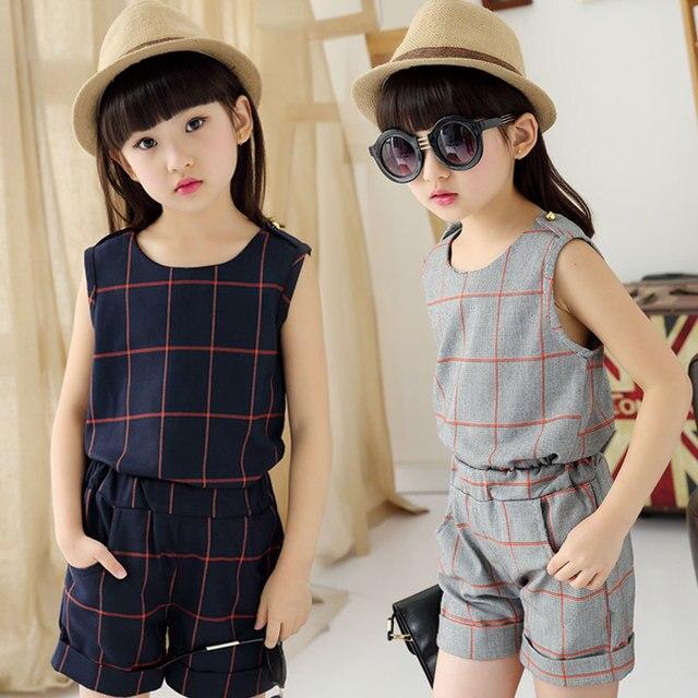 6a27dd708d 3-11 Año Conjunto Menina Ropa Conjuntos para Adolescente Niñas Moda A  Cuadros Sin Mangas