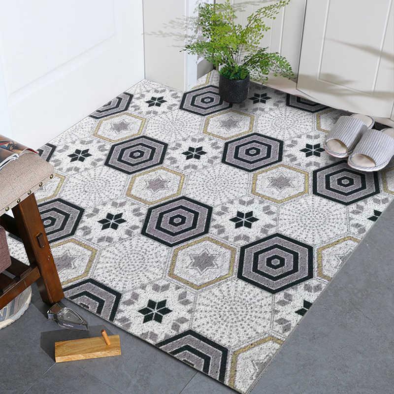 Z tworzywa sztucznego przewód pcv loop dywan Nordic ins style drzwi wejściowe mata do domu drzwi mata antypoślizgowa dostosowywania geometryczny wzór płytki dywan