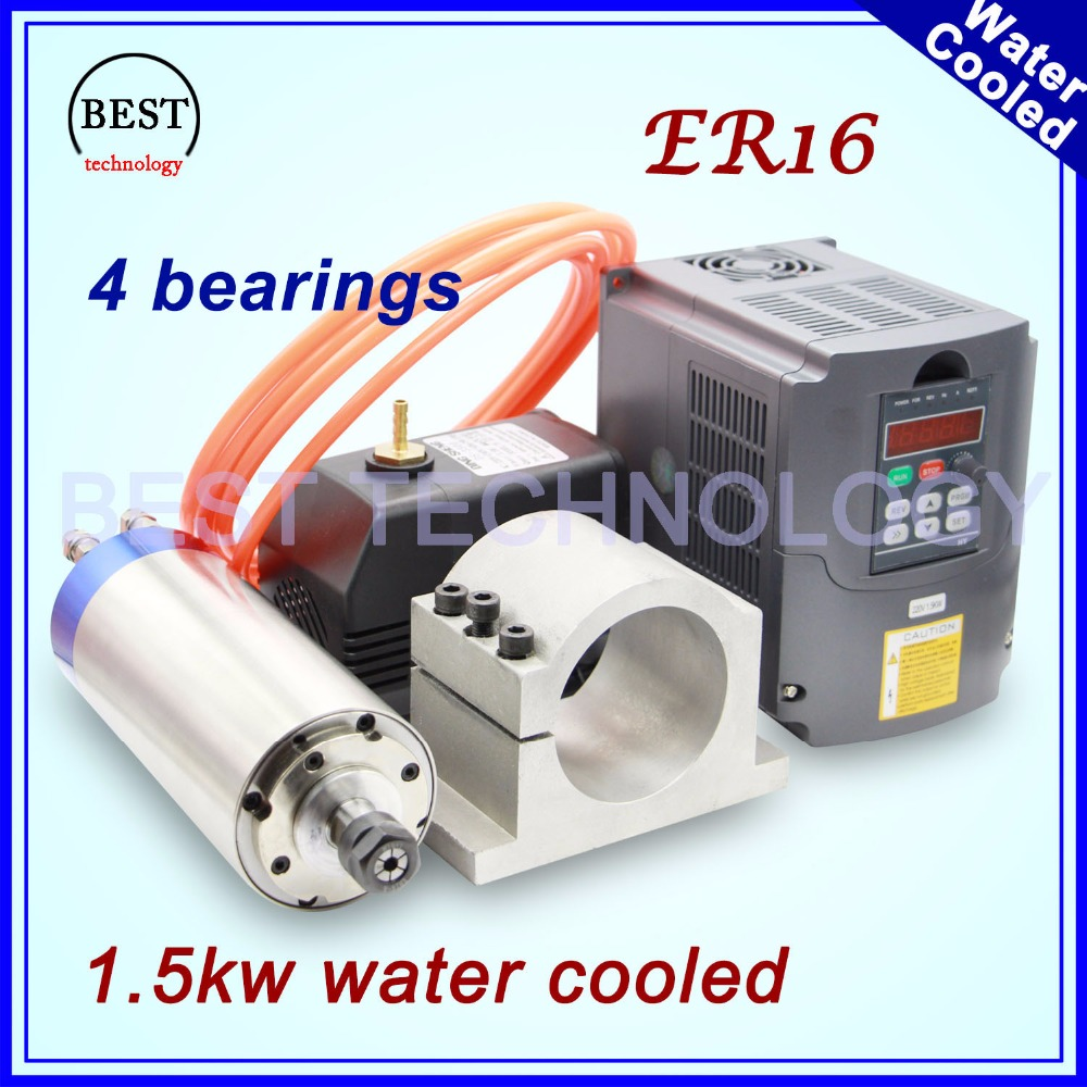 1.5KW raffreddato ad acqua motore mandrino ER16 4 cuscinetti 80x220mm & 1.5kw VFD/Inverter & 80mm perno del movimento e 75 w pompa acqua