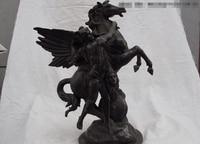 song voge gem S0703 16 West Classical ART Copper Bronze Man Pull Fly Horse Sculpture