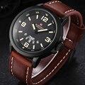 2016 marca NAVIFORCE relógios homens de quartzo reloj relógio de pulso de couro relógio do exército militar reloj hombre homens relogio masculino