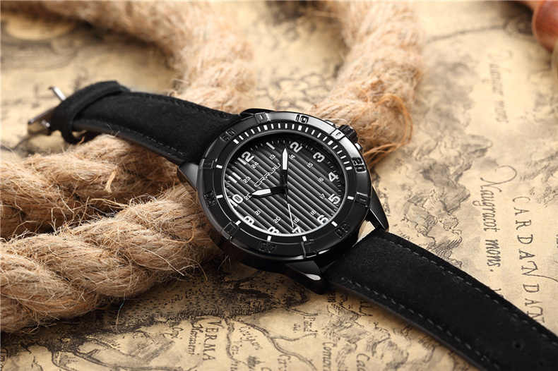 CRRJU トップブランドの高級スポーツ腕時計メンズクォーツ時計革ストラップ防水メンズ腕時計メンズ腕時計リロイ hombre