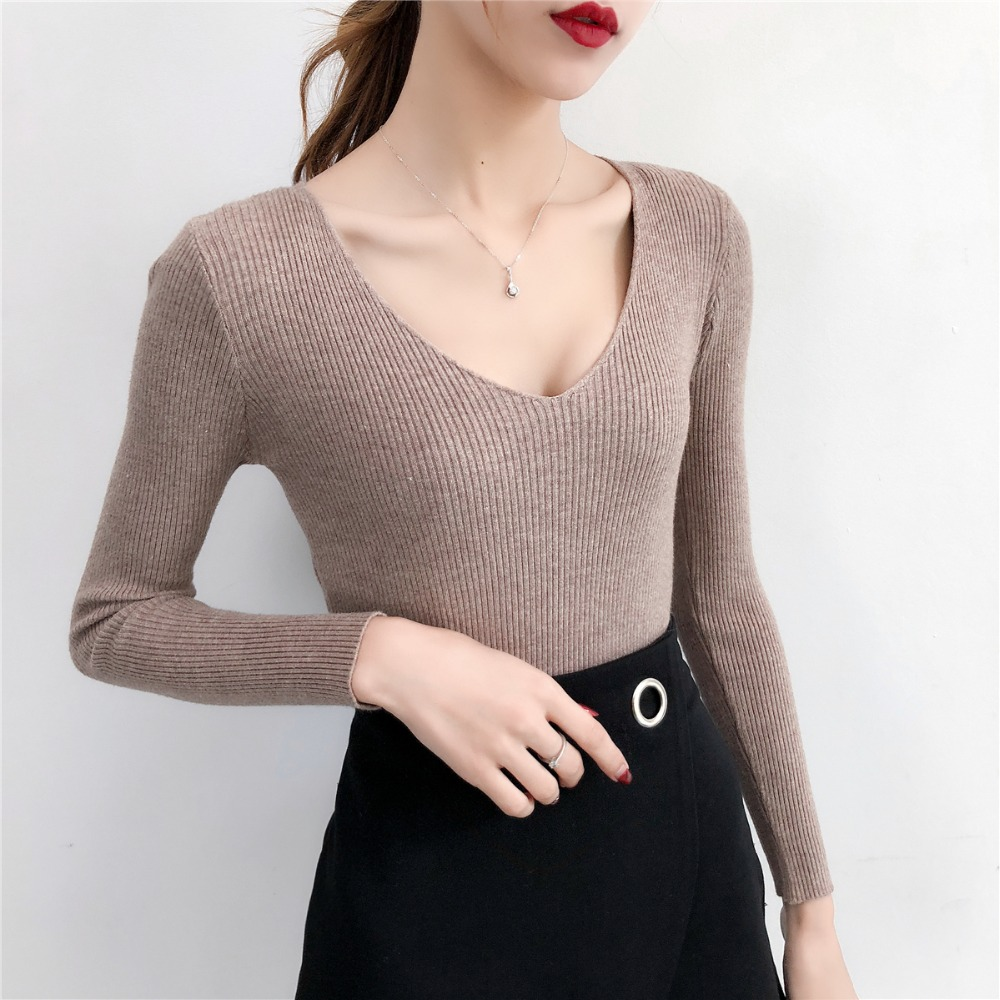 Pull Femme Sexy Deep V Neck Women Sweaters And Pullovers 2018 Winter Pink Gray Knitted Warm Jumper Slim Stretch Sweater Female