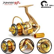 Carpa 500-9000 Alimentador de Cuerpo Metálico 12BB Yumoshi Grande Moulinet Carretilha Pesca Carretes de pesca Spinning Reel de Pesca de China Shimano