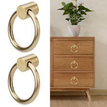 цены 2pcs Vintage Brass Jewelry Box Handle Ring for Furniture Kitchen Wine Cabinet Wardrobe Door Pull Knob