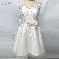 Vintage Short Wedding Dress Lace Tea Length Wedding Gowns Tulle Bride Dresses 2017 Vestido De Noiva