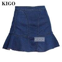 KIGO Women Jeans Mermaid Mini Skirt Sexy Slim Pencil Skirt High Waist Short Flared Skirt Casual