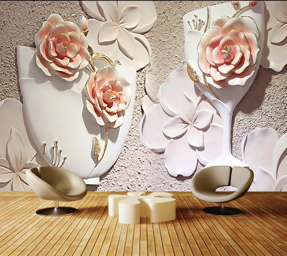 relieves moderno del florero de rose d papel pintado paredes saln papel pintado no tejido papel