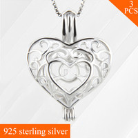 Free Shipping LGSY Romantic 925 Sterling Silver Necklace Pendant Heart Cage Pendant Pearl Women Jewelry 3pcs