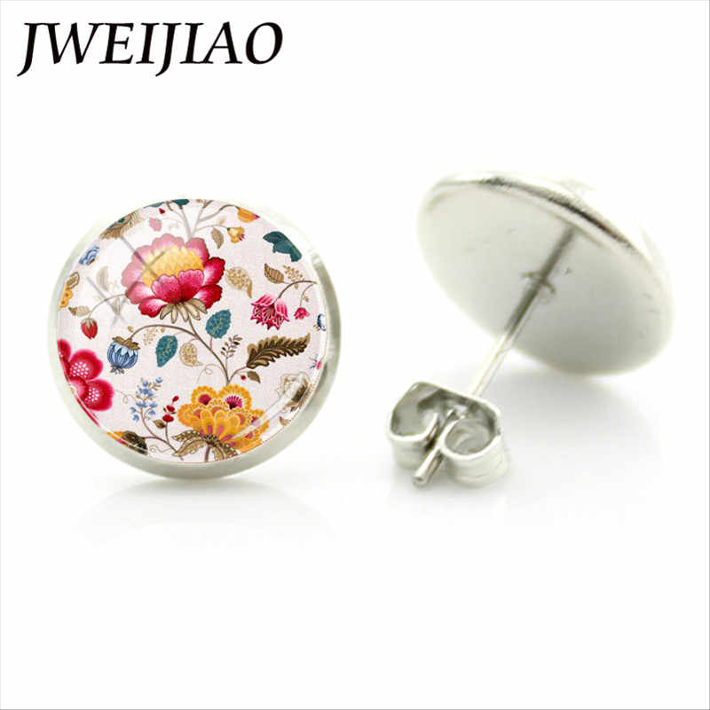 JWEIJIAO Retro Window Grilles Flower Stud Earrings Scrapbook Album Embossing Craft Art Picture Glass Dome Brincos Jewelry VG05