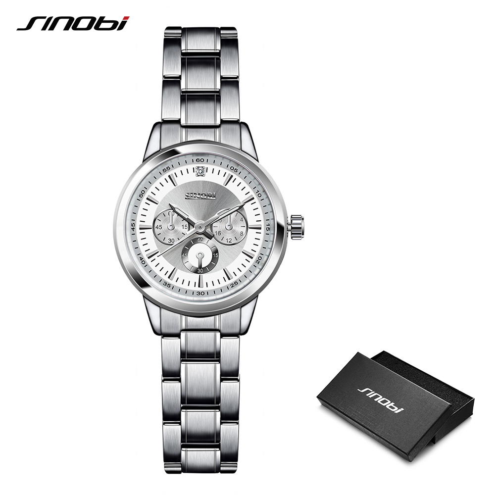 SINOBI Bracelets For Women Elegant Steel High End Clocks Russia Hot Sale Quartz Watches Ladies Geneva Wristwatches Reloj Mujer