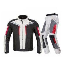 Men Motorcycle Jacket + Motorcycle Pants Set Spring Summer Breathable Mesh Jacket Moto Pants Suit Clothing Protective Gear все цены