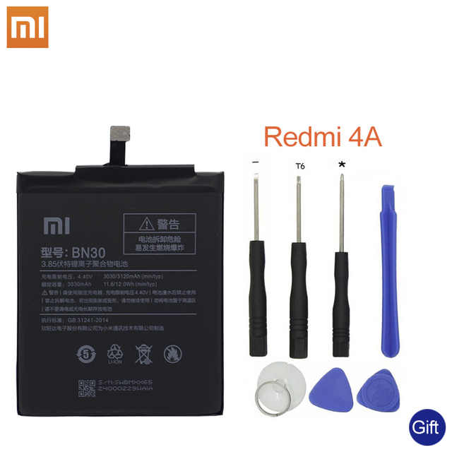 Xiao mi teléfono para Xiaomi rojo mi 4A batería BN30 3120 mAh Redrice 4A Hong mi 4A Bateria de alta calidad + herramientas