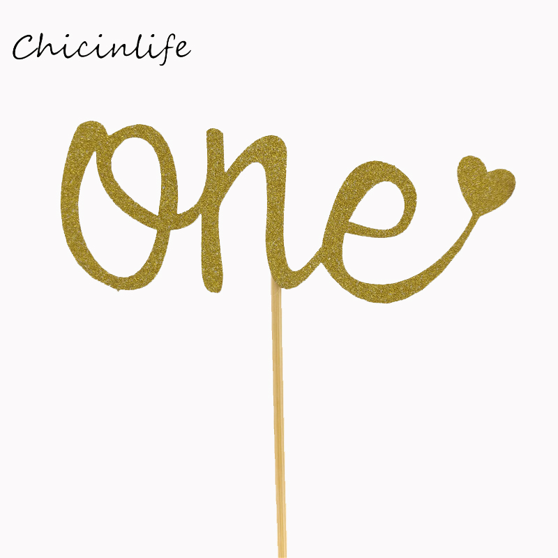 Chicinlife 10pcs/lot ONE Cake Topper Kids 1ST Birthday Party Decoration Cupcake Topper Baby Shower Supplies Baking Decor