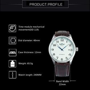 Image 3 - Мужские автоматические механические наручные часы WINNER официально деловое платье с коричневым ремешком из натуральной кожи