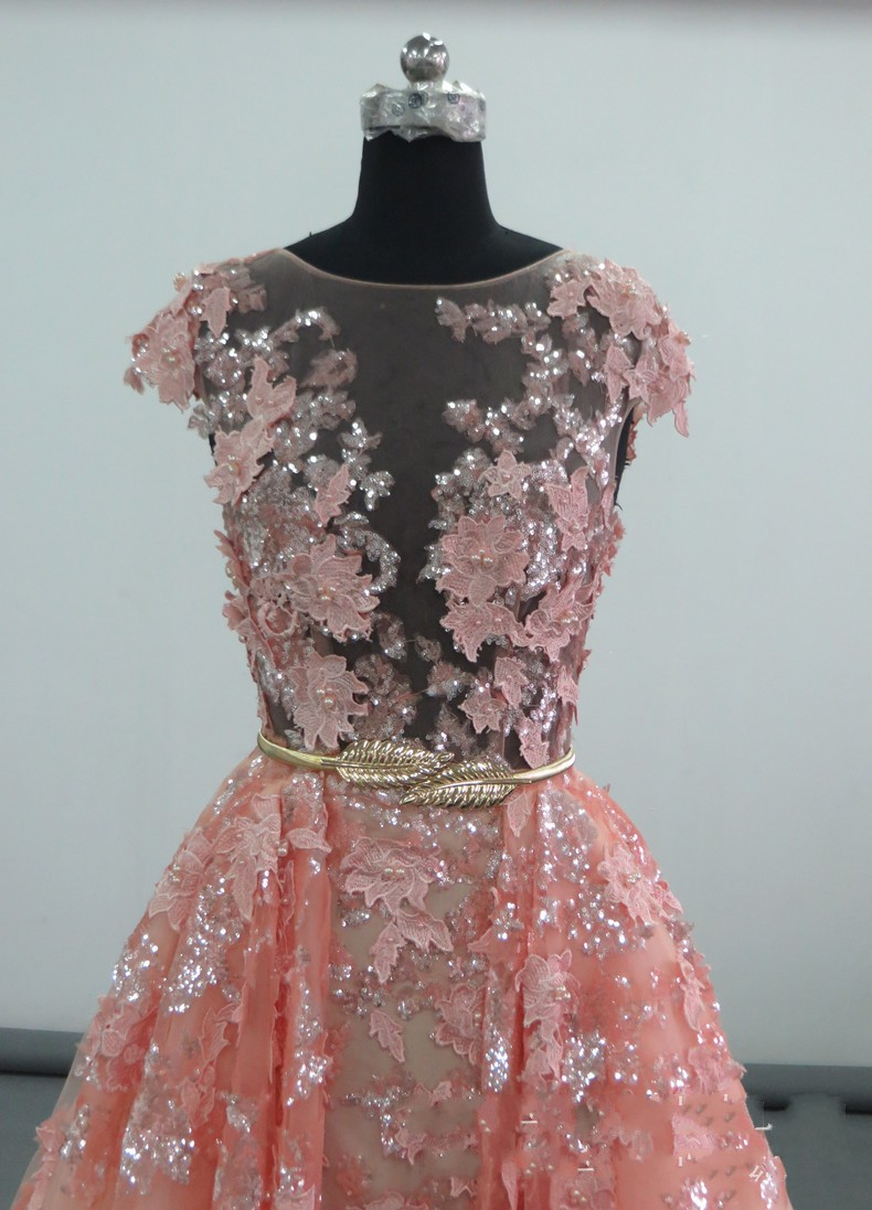 Elie saab bling bling sequines lace leaves pink gown night dress vestidos  longos latest evening gown designs robe de soir e -in Evening Dresses from  ... 889873721