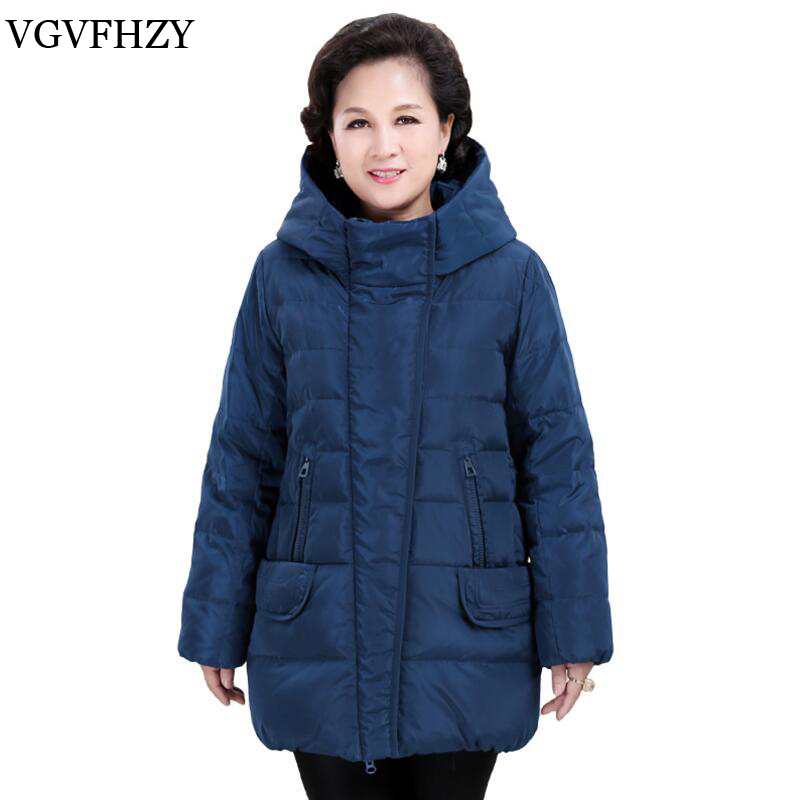 Middle-aged High Quality White Duck Down jacket Hooded plus size women's down jacket light womens down jacket Warm Winter Coat high quality real fur female winter in the new middle aged down jacket women white duck down sundae feather thick coat l 5xl