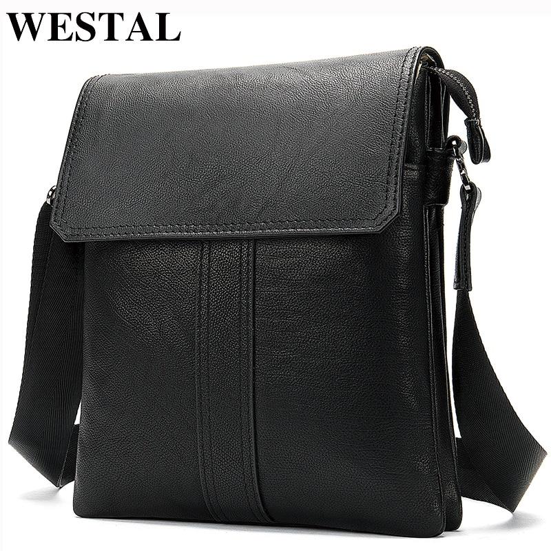 WESTAL Men's Shoulder Bag Male Black Crossbody Bags For Men Bags Genuine Leather High Quality Messenger Bag Men Leather Handbags