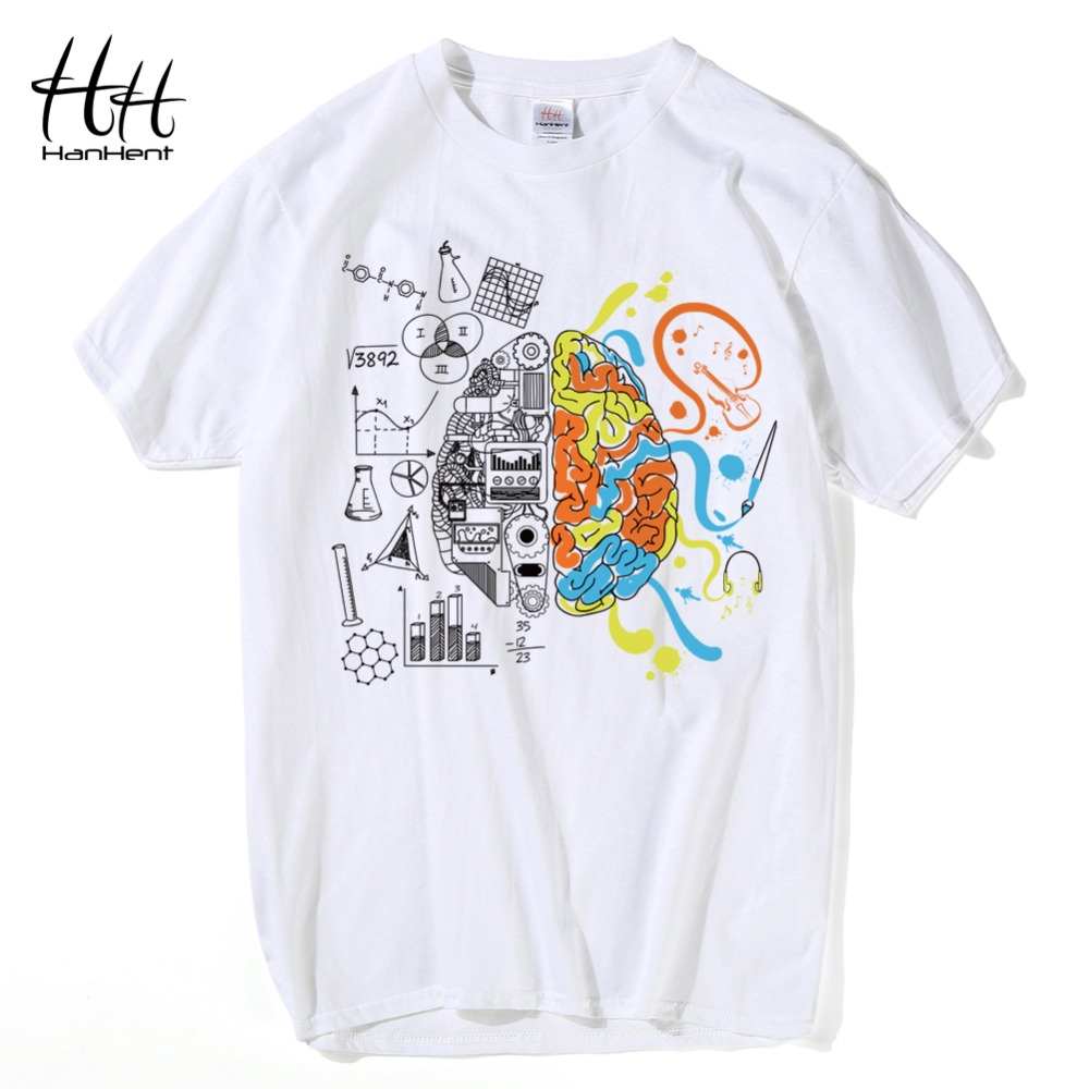HanHent New Left or Right Brain Men's   T  -  shirt   Short Sleeve 100% Cotton Geek Tee   shirts   Fashion Streetwear Male Funny   T     shirts
