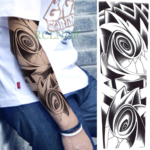 1e15953415948 Waterproof Temporary Tattoo Sticker Tribal Totem eye full arm fake tatto  flash tatoo sleeve large size