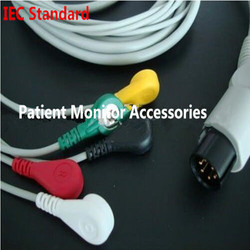 Free Shipping Generic AAMI 6 Pins One-piece 5 LeadS ECG Monitor Cable Snaps For Monitor Mindray PM7000/8000/9000 IEC .TPU