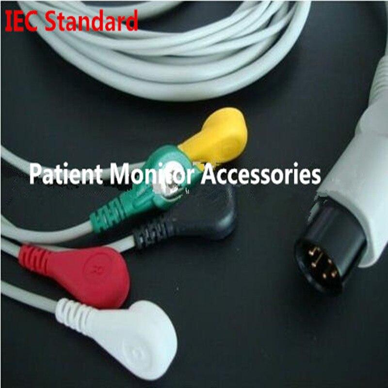 Gratis Verzending Generieke AAMI 6 Pins Een Stuk 5 LeadS ECG Monitor Kabel Snaps Voor Monitor Mindray PM7000/ 8000/9000 IEC. TPU