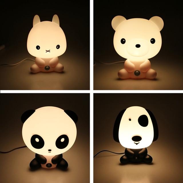 Novelty PVC Plastic Baby Bedroom Lamps Night Light Cartoon Pets Rabbit  Panda Sleep Kids Lamp Bulb