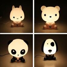 La novedad de Plástico PVC Bebé Dormitorio Lámparas Luz de La Noche del Conejo de Dibujos Animados de Animales Panda Sueño Niños Led Bombilla de La Lámpara de Luz de Noche para Niños