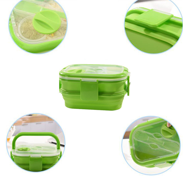 eb592cd467da US $14.99 49% OFF|2 Layers Colorful Silicone lunch box set For Kids  kitchenware kitchen accessories tableware food container With Handle 4  colors-in ...