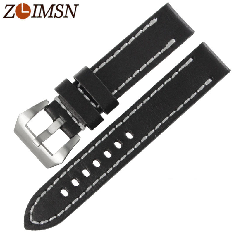 ZLIMSN Sport Thick Genuine Leather Watch Bands Replacement 20mm 22mm 24mm Wristwatch Belts Silver Brushed Stainless Steel BuckleZLIMSN Sport Thick Genuine Leather Watch Bands Replacement 20mm 22mm 24mm Wristwatch Belts Silver Brushed Stainless Steel Buckle