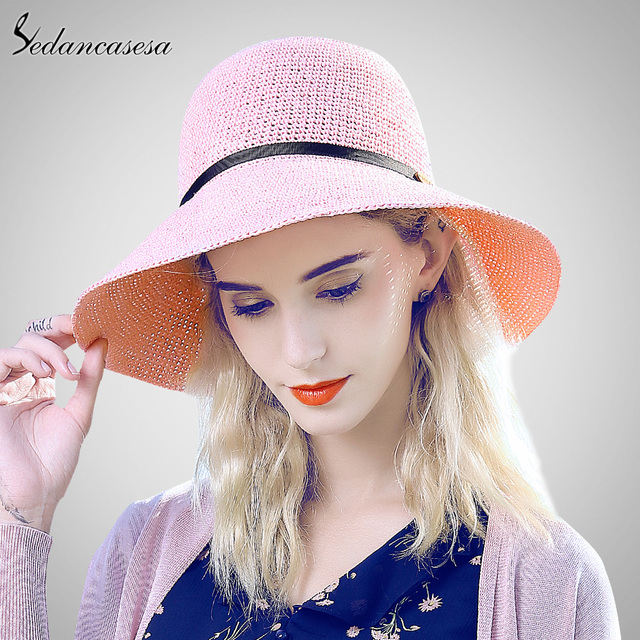 Sedancasesa washable Sun Hats for women summer Large Brim Bucket hat holiday  seaside sun protect beach 87c3d00893f4
