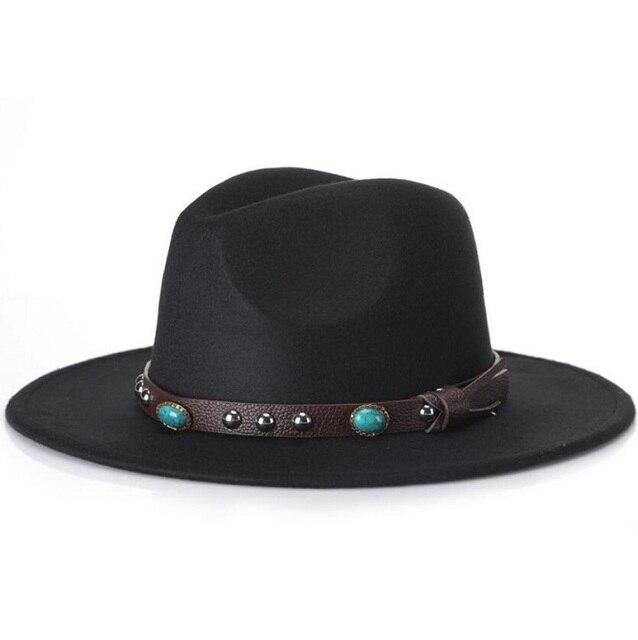 48ec8d6c201 Trendy Men Women Casual Woolen Cowboy Hats Fedora Caps Korean Style Unisex  Wide Brim Panama Hat Summer Beach Sun Cap Sunhatts wh
