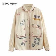 Merry Pretty Women Autumn Winter Jacket And Coat Cartoon Emb