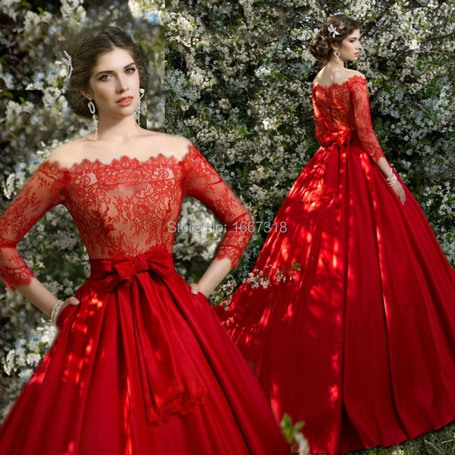 Red And White Wedding Dresses With Sleeves: White Red Ivory Lace Wedding Dresses Court Train Long