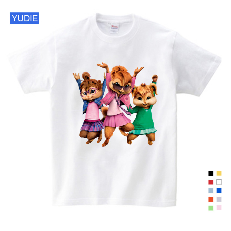 2019 Hot Sale ! New Brittany Eleanor Jeannette and The Chipmunks Boys Tops Girls Tops Costume Alvin Costume Kids Costume YUDIE