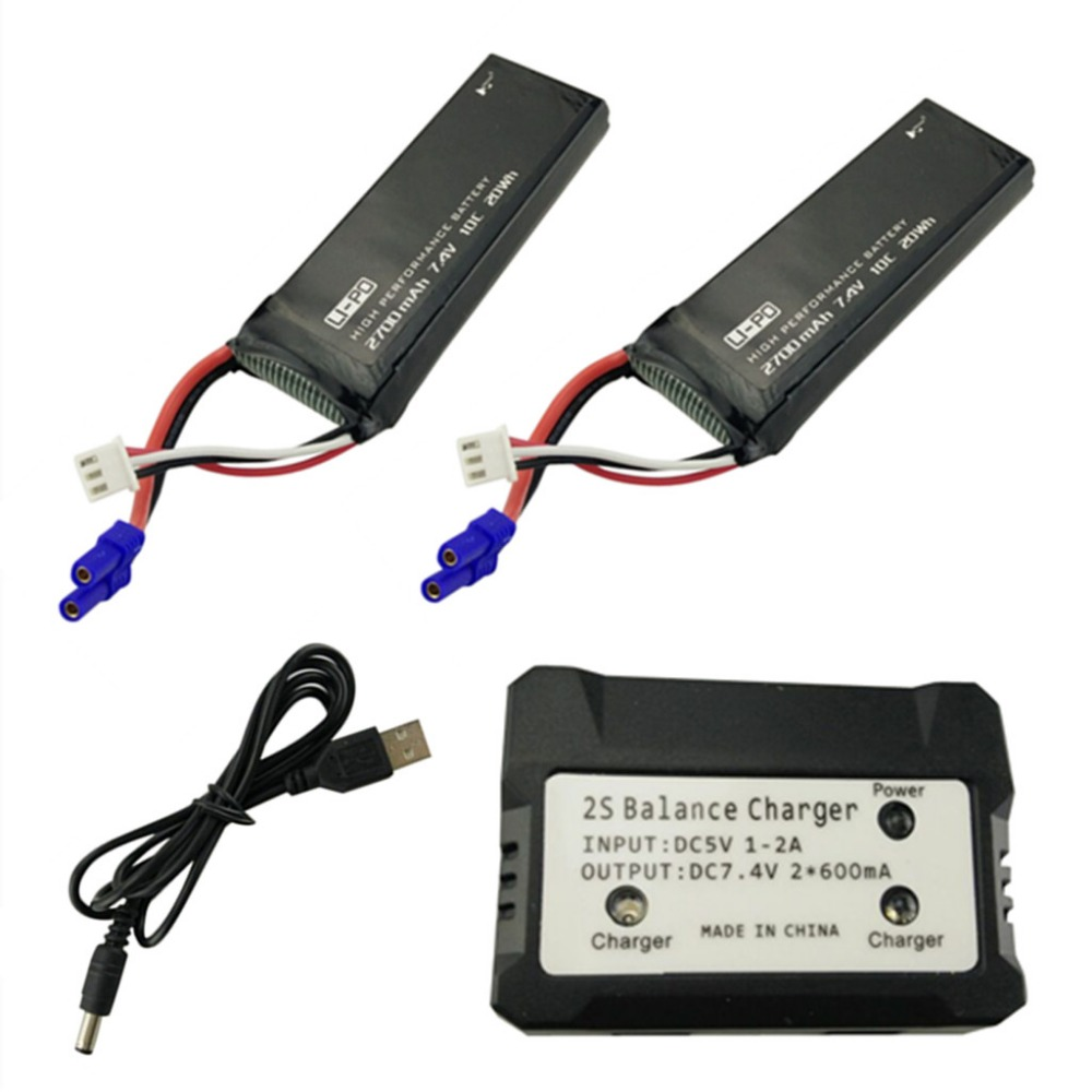 2PCS 7.4V 2700mah battery with 2 in 1 charger for Hubsan X4 H501S H501A H501C H501M H501S W H501S pro spare parts 3pcs battery and european regulation charger with 1 cable 3 line for mjx b3 helicopter 7 4v 1800mah 25c aircraft parts