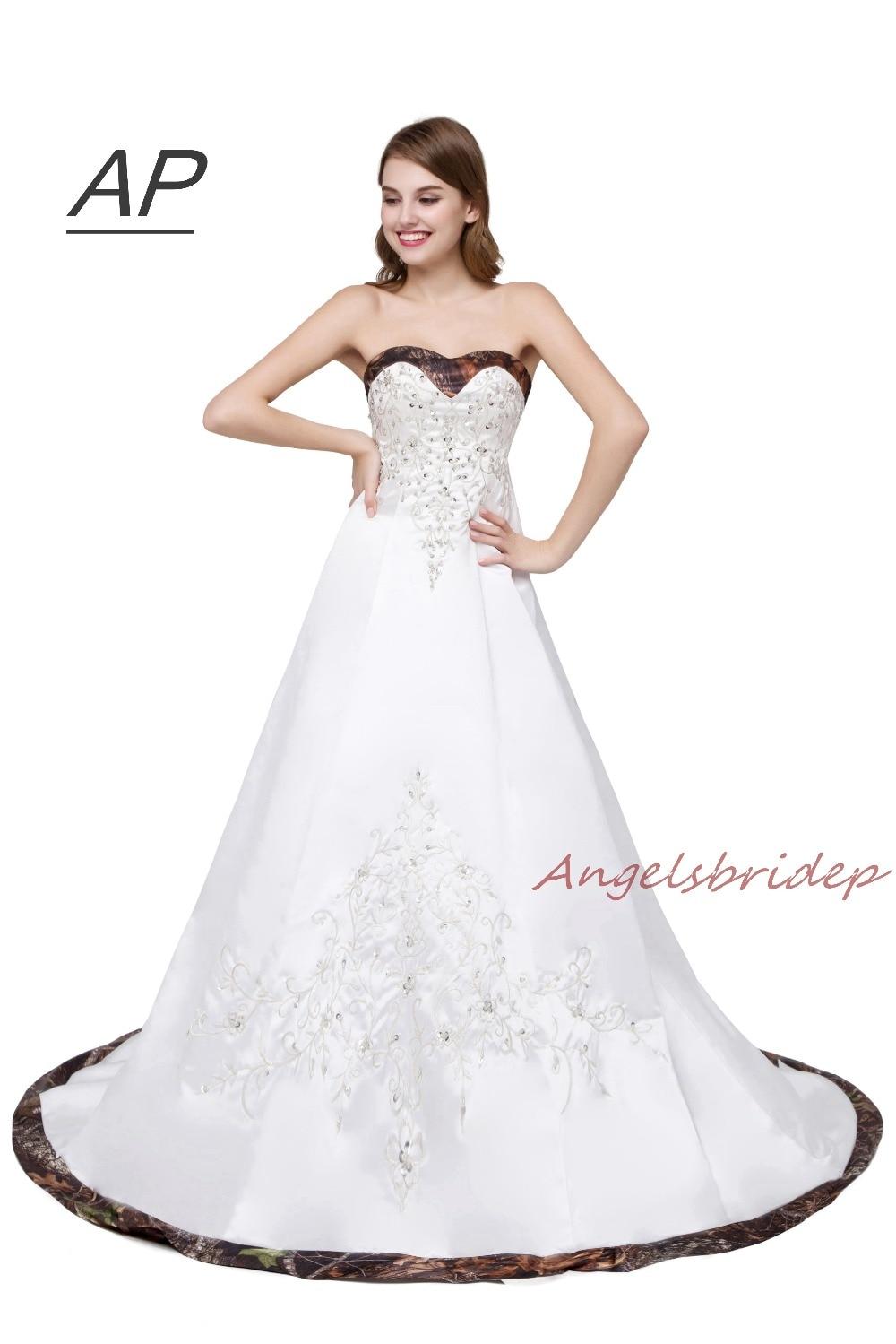 Angelsbridep White/camo Plus Size Wedding Dress Vestido De Noiva Fashion Sweetheart Floor-length Embroidery Charming Bride Dress Weddings & Events