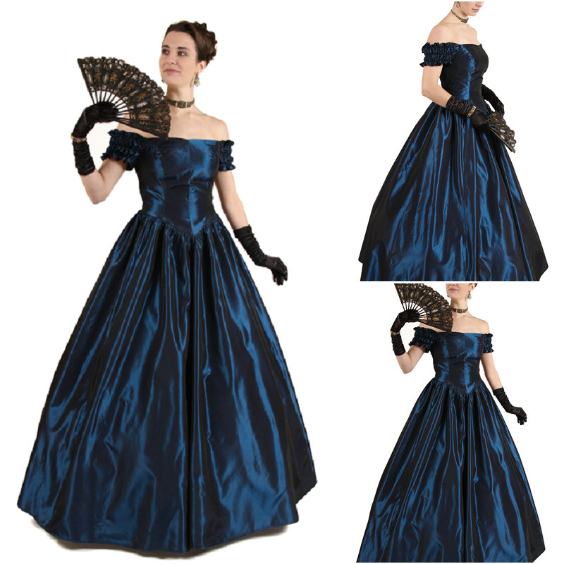 1860s Blue Civil War Uniform Victorian Ball Gown Southern Belle Dress