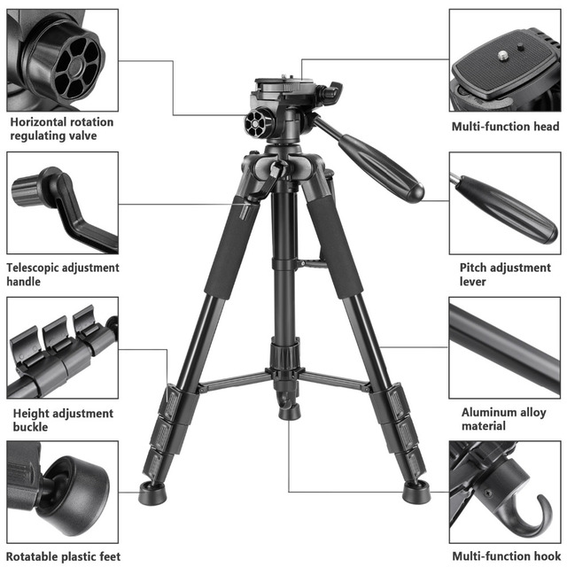 Neewer Camera Tripod Portable 56 inches/142cm Aluminum 3-Way Swivel Pan Head+Carrying Bag for Canon Nikon Sony DSLR Camera 2