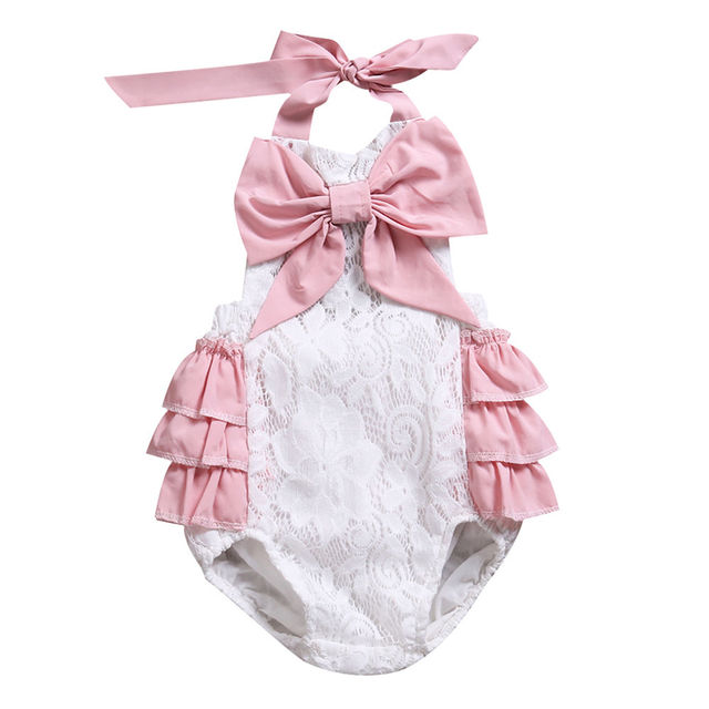225e8ed0c879 Sweet Newborn Baby Girl Bow-knot halter Romper Jumpsuit Infant little girl icing  rompers Clothes