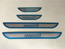 for Mazda 3 Hatchback Sedan Automobile 2014 2015 2016 Ultrathin Stainless Steel Door Sill Car Styling Sticker Accessories 4 Pcs