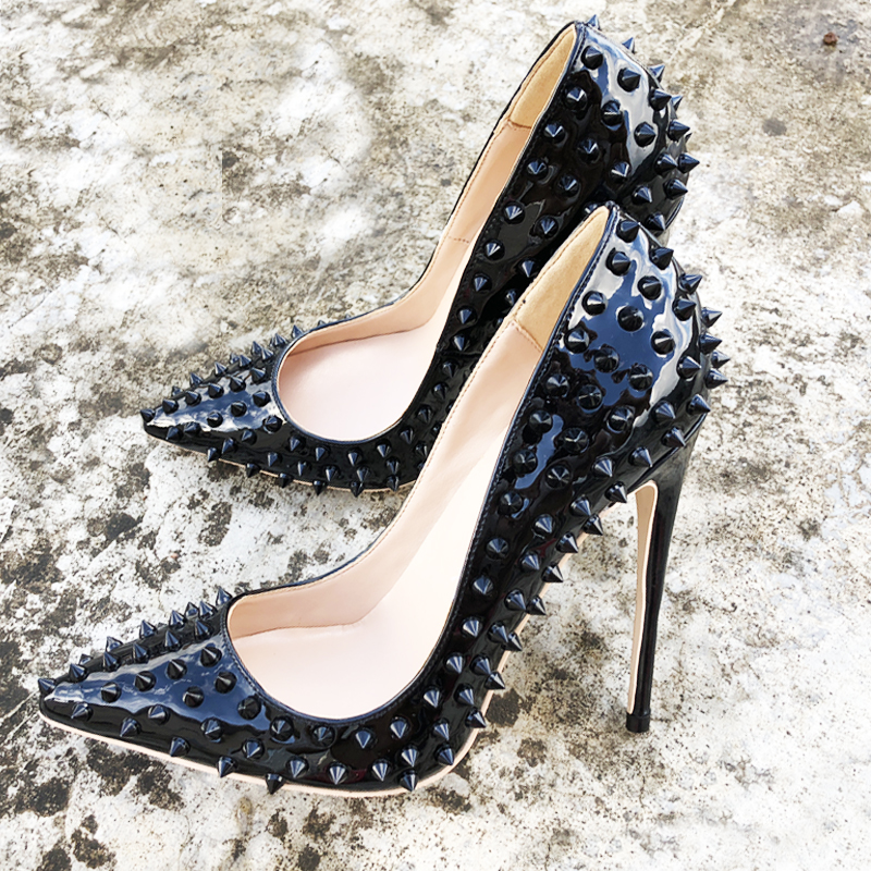 2019 Fashion Free Shipping Women Spikes Black Patent Leather Poined Toe Stiletto High Heel Pump HIGH-HEELED SHOES Wedding Shoes