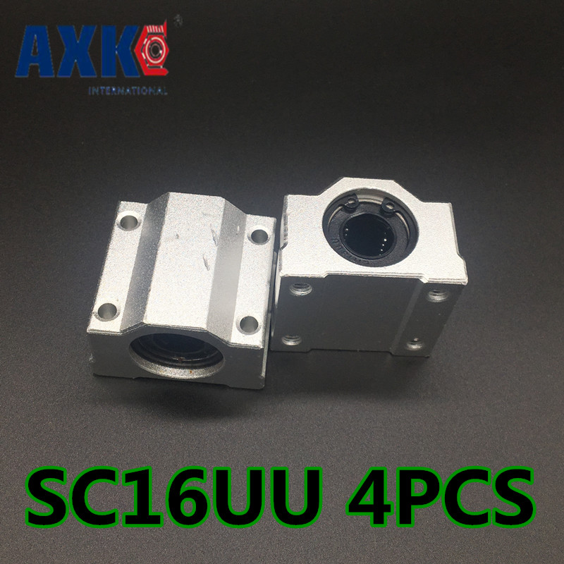 Free shipping New AXK 4pcs SC16UU SCS16UU 16mm Linear Block axis Ball Bearing Pillow Bolck for 16mm shaft rail 4pcs new for ball uff bes m18mg noc80b s04g